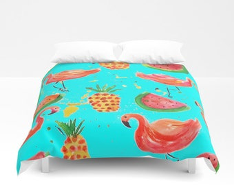 FLAMINGO BEDDING Comforter Flamingo Duvet Cover Hot Pink Aqua Turquoise Pineapple Bedding