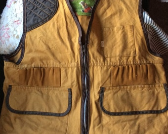 Now 20% off  VINTAGE HUNTING VEST, khaki canvas, flannel pheasants, detachable backpack, very cool, hipster, sportsman, man cave
