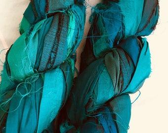 SALE plumfish recycled silk sea green, deep aqua, embroidery knitting crochet craft embellishment yarn 100 grams