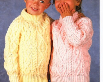 Baby knitting pattern childrens knitting pattern aran sweaters childrens knitting pattern childrens aran sweater aran jumper crew neck 26 32 inches aran childrens dt1010fo
