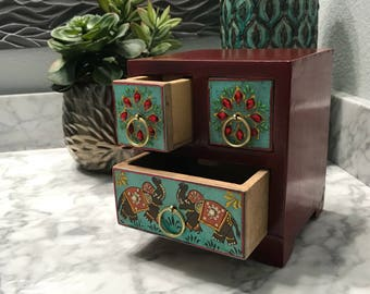Miniature Dresser Drawer Jewelry Box, Hand Painted Red, Wood Accessory Storage Container, Three Drawers, Item #593768067
