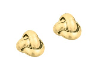14Kt Yellow Gold Shiny One Row Love Knot Post Earring #ER1087