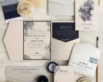 5x7 Watercolor Navy & Nude Wedding Invitation - Includes Envelope Liner, RSVP and Address Printing