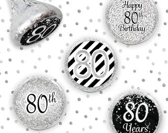 Celebrate Turning 80 Party, 80th Party Favors Stickers for Hershey Kisses, Silver Glitter Theme 80th Birthday Party Decorations - Set of 324