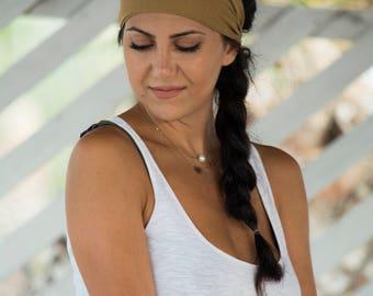 Yoga Turban Headband, Cream Headband, Running Headband, Brown Headband, Elastic Headband, Stretch Headband, Soft Headband, Turban Headbands