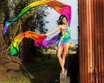 Rainbow Flow Dance Silks