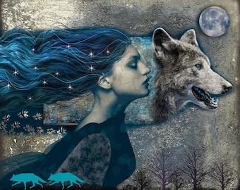 Werewolf, digital art, art, print, fairy tale, illustration, fantasy art, wolf