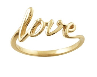 14K Gold Love Ring - Valentines Day Gift Idea. Solid Rose, Yellow, White Gold. Personalized Fine Jewelry. Anniversary & Wedding