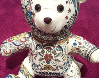 Teddy Bear with Hand-drawn Henna Inspired Designs