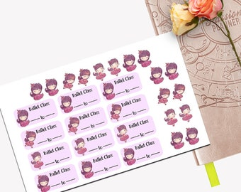 Ballet Practice Functional Sticker Set, All Planner Stickers, Stickers, Printed, Cut, Passion Planner, Functional Sticker, Ballerina, Dance