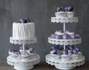 White Lace Cake Cupcake Macaron Stand For Wedding Birthday