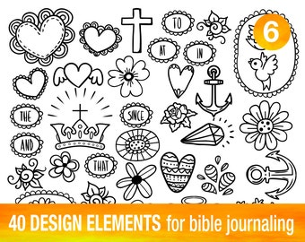 40 PRINTABLE TEMPLATES for bible journaling verse art, illustrated faith bible clipart stamps, scripture art printable stencils.
