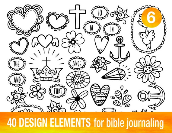 Preferred 40 PRINTABLE TEMPLATES for bible journaling verse art, illustrated  VW81