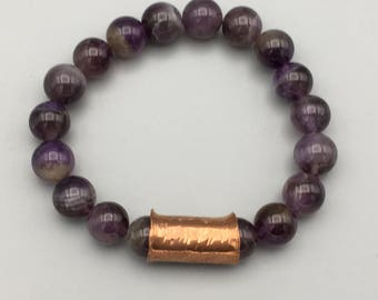 Amethyst bracelet with hammered copper