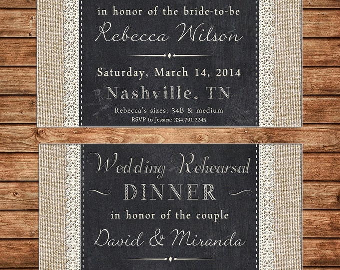 Invitation Burlap Lace Chalkboard Elegant Wedding Shower Birthday Party - Can personalize colors /wording - Printable File or Printed Cards
