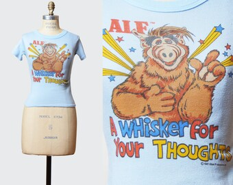Vintage 80s Alf Graphic Crop Top  Tee Shirt / 1980s TV Show Graphic Shirt Retro Tshirt T Shirt Extra Small xs
