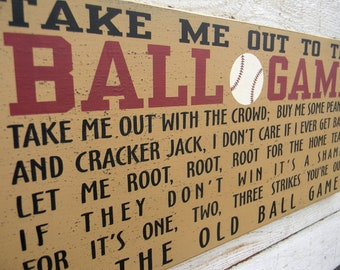 Take me out to the Ball Game - wood typography word art sign