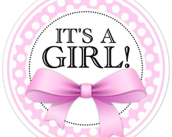 36 It's A Girl Stickers, Pink Polka Dots and Bow, Baby Shower Stickers, Gender Reveal Labels
