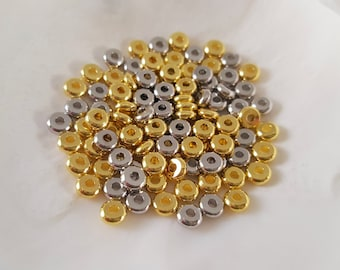 1/2 OZ Mixed Gold & Silver Brass Flat Abacus Rondelle Spacer Beads