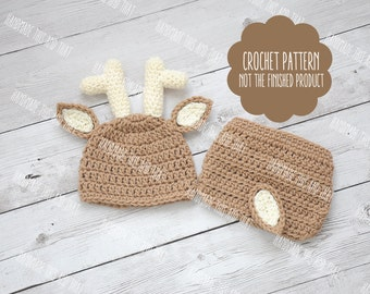 CROCHET PATTERN - Deer hat pattern, Newborn deer outfit pattern, deer outfit, deer hat and diaper cover, baby pattern, photo prop set