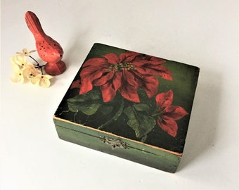 Hand Painted Wooden Box, Vintage Trinket Box, Handkerchief Box, Floral Keepsake Storage, Christmas Gift Presentation Box, Red Poinsettias