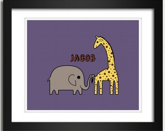 Personalized Name - Playful Elephant and  Giraffe - 8x10 Art Print or 13x19 Poster - Nursery Wall Hanging Customized Boys Room or Girls Room