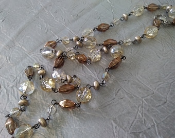 Beige and Brown Czech Glass Necklace, Longer Length