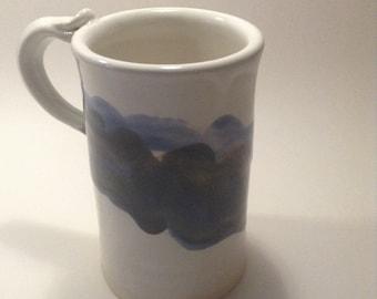 Mug, Wheelthrown stoneware blue and white mug; ceramic coffee mug