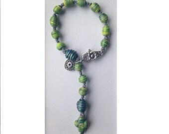 New Bracelet Catholic Rosary 1 decade Polymer Prayer Beads Cross Crucifix