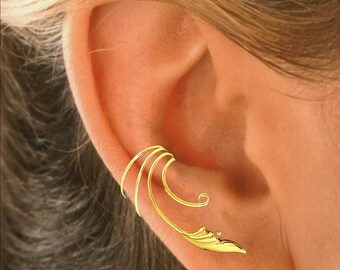 Delicate Leaf Ear Cuff Non-pierced Cartilage Wrap Earrings Stackable Sterling Silver or Gold Over Sterling
