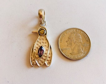 Sterling Bird Pendant With Amethyst & Citrine