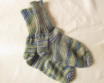 Hand Knitted Blue and Green Striped Washable Wool Socks