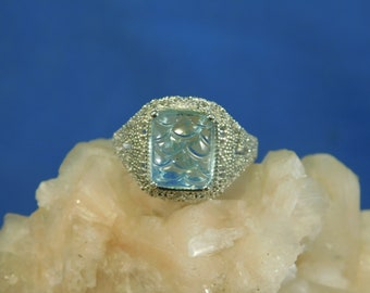 5.18 ct. Hand-Carved Aquamarine Ring Art Deco Style Filigree Sterling Silver