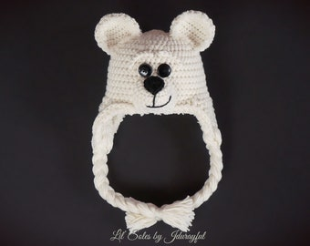Baby Hat, Baby Girl Hat, Off White Baby Hat, Crocheted Baby Hat, Baby Bear Hat, Baby Bear, Baby Boy Hat, Baby Earflap Hat, Baby Boy Gift
