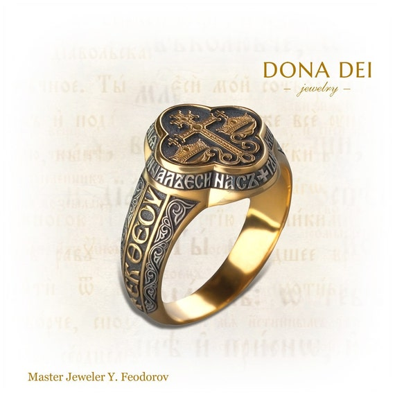 Unique Byzantine Gold Silver Mens Ring Wedding Band Signet