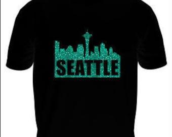 Seattle Skyline Glitter T-Shirt, Emerald City Skyline T-Shirt