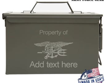 US Navy Seal Custom Engraved 30/50 Cal Ammo Can Personalized Dad Gift Cool Guy Gifts Father's Day Gift Grandpa Gift Groomsmen Hunter