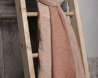 Linen Scarf | Long Scarf | Brown Scarf | Linen Cotton blend Scarf | Scarves For Women | Mens Scarf | Scarves and Shawls | Linen Wrap | Scarf