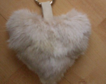Key fob, pendant fur heart, mink