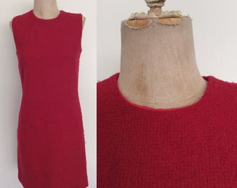 1970's Red Textured Shift Dress Mod Mini Size XS Small by Maeberry Vintage