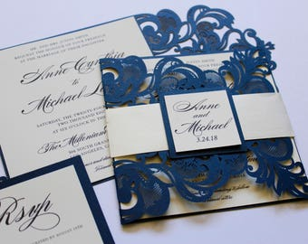 Formal Laser Cut Wedding Invitations // Navy Blue Shimmer and Ivory