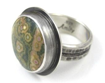 Ocean Jasper Ring - Distressed Sterling Silver Ocean Jasper ring - US size 8.25 - round Jasper ring - rustic ocean jasper ring - size 8.25