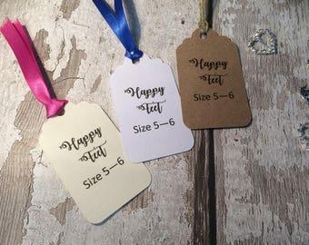 10 x Dancing / happy feet wedding flip flop size tags / labels