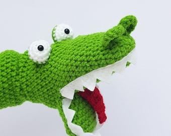 Crocodile Hand Puppet , crocodile puppet, children's hand puppet, crocodile toy, crochet puppet