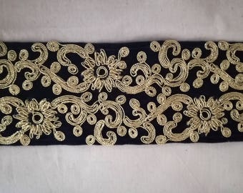Embroidered Indian lace embroidered #galon support golden flower pattern