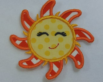 Sun Face Applique Fabric Embroidered Iron On Applique Patch Ready to Ship