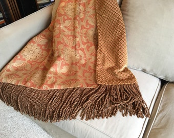 Genial Regal Throw Blanket, Orange Sherbet, Luxurious Throw, Custom Throw, Elegant  Bedding,