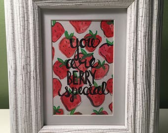 Berry Special///Handpainted Matted Watercolor