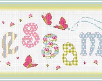 Customized Sampler// Name Cross Stitch // Name Sampler // Vintage Cottage Personalized Cross Stitch Nameplate Sampler