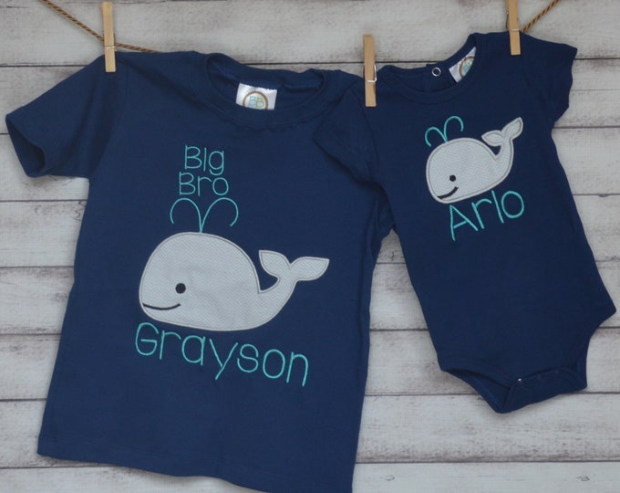 Featured listing image: Personalized Nautical Whale Applique Shirt or Onesie Girl or Boy